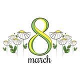 Tarjeta de felicitación del vector con las margaritas blancas 8 de marzo tarjeta para mujer internacional del día Fotos de archivo libres de regalías