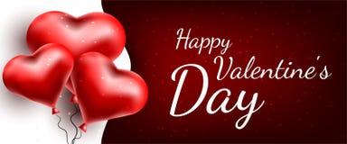 Tarjeta de felicitación del vector con los corazones 3d Día de la tarjeta del día de San Valentín s Amor y romance stock de ilustración