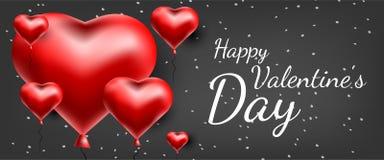 Tarjeta de felicitación del vector con los corazones 3d Día de la tarjeta del día de San Valentín s Amor y romance ilustración del vector