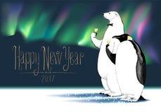 Tarjeta de felicitación del vector de la Feliz Año Nuevo 2017 Foto de archivo