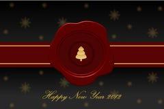 Tarjeta de felicitación del vector dedicada al Año Nuevo Foto de archivo libre de regalías