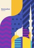 Tarjeta de felicitación del vector del Ramadán, silueta de la mezquita con geometri ilustración del vector
