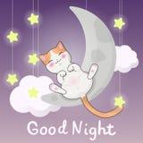 Tarjeta de felicitación del vector, gatito lindo en un ejemplo de la luna, título indicado con letras de la mano - buenas noche stock de ilustración