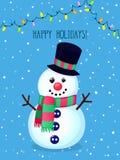 Tarjeta de felicitación del vector de la Navidad con el muñeco de nieve divertido y las luces eléctricas libre illustration