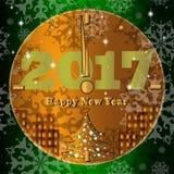 Tarjeta de felicitación del vector por el Año Nuevo Reloj de oro elegante Imagen de archivo