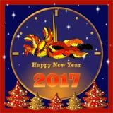 Tarjeta de felicitación del vector por el Año Nuevo Reloj de oro estilizado adornado Fotos de archivo