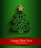 Tarjeta de felicitación del verde del Año Nuevo con la silueta del árbol de navidad Foto de archivo