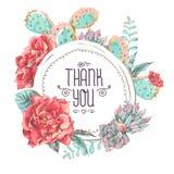 Tarjeta de felicitación del vintage con las flores florecientes stock de ilustración