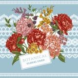 Tarjeta de felicitación del vintage con las peonías florecientes Foto de archivo libre de regalías