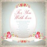 Tarjeta de felicitación del vintage con las rosas rosadas Fotografía de archivo