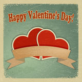 Tarjeta de felicitación del vintage con un día de tarjeta del día de San Valentín feliz Fotografía de archivo libre de regalías
