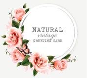 Tarjeta de felicitación del vintage de la naturaleza con las flores y la mariposa de la belleza Imagen de archivo libre de regalías