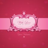 Tarjeta de felicitación del vintage de las tarjetas del día de San Valentín. Fotografía de archivo libre de regalías