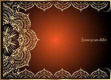 Tarjeta de felicitación del vintage del oro en fondo anaranjado Plantilla de lujo del ornamento Grande para la invitación, aviado stock de ilustración