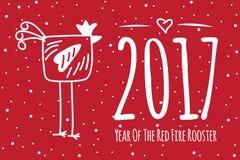 Tarjeta de felicitación dibujada mano china del Año Nuevo stock de ilustración
