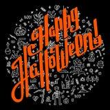 Tarjeta de felicitación dibujada mano de Halloween en fondo negro Imágenes de archivo libres de regalías