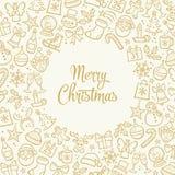 Tarjeta de felicitación dibujada mano de la Navidad Fotografía de archivo