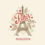 Tarjeta de felicitación dibujada mano parisiense del vector del símbolo de la torre Eiffel Fotos de archivo libres de regalías