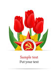 Tarjeta de felicitación diseñada al 23 de febrero Fotografía de archivo