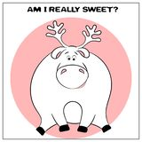 Tarjeta de felicitación divertida del vector con los ciervos gordos lindos y frase de la historieta El concepto de dise?o de la d stock de ilustración