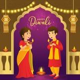 Tarjeta de felicitación de Diwali con los niños indios de la historieta ilustración del vector
