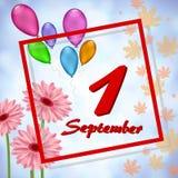 Tarjeta de felicitación el 1 de septiembre ilustración del vector