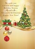 Tarjeta de felicitación elegante de la estación del invierno para la impresión por la Navidad y el Año Nuevo Fotos de archivo libres de regalías