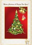 Tarjeta de felicitación elegante por la Navidad y el Año Nuevo Fotografía de archivo