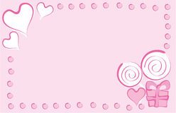 Tarjeta de felicitación en color de rosa Foto de archivo