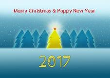 Tarjeta de felicitación en el estilo de neón por la Navidad y el Año Nuevo 2017 Fotografía de archivo libre de regalías