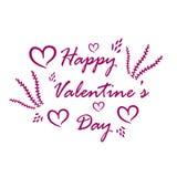 tarjeta de felicitación en el fondo blanco con los corazones y las flores rosados libre illustration