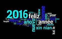 tarjeta 2016 de felicitación en el fondo negro, Año Nuevo traducido en muchas idiomas Fotografía de archivo