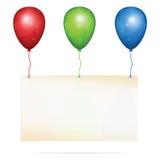 Tarjeta de felicitación en los globos Fotografía de archivo libre de regalías