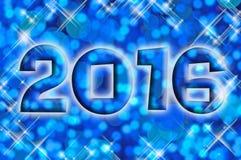 tarjeta 2016 de felicitación en luces brillantes azules del día de fiesta Imagen de archivo