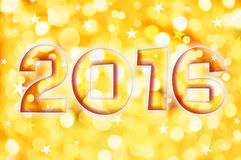 tarjeta 2016 de felicitación en luces brillantes del día de fiesta del oro Fotografía de archivo