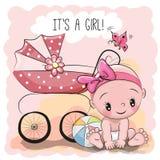 Tarjeta de felicitación es una muchacha con el bebé stock de ilustración