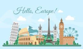Tarjeta de felicitación de Europa de la recepción del ejemplo del vector, cartel con los edificios famosos, concepto del viaje To stock de ilustración