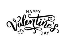 Tarjeta de felicitación exhausta del texto de la mano feliz de día de San Valentín Ilustración del vector libre illustration
