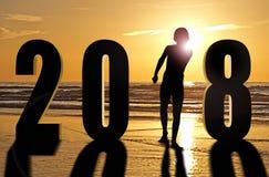 Tarjeta de felicitación - Feliz Año Nuevo 2018 Fotos de archivo