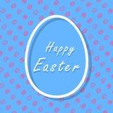 Tarjeta de felicitación feliz azul y rosada de Pascua con el modelo, la bandera, y el texto de los huevos stock de ilustración