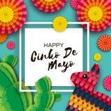 Tarjeta de felicitación feliz de Cinco De Mayo Fan de papel colorida, Pinata divertido y cactus en estilo del corte del papel Méx stock de ilustración