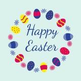 Tarjeta de felicitación feliz colorida de Pascua Foto de archivo