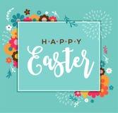 Tarjeta de felicitación feliz colorida de Pascua con el conejo, el conejito, los huevos y las banderas stock de ilustración