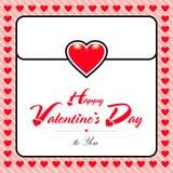Tarjeta de felicitación feliz de día de San Valentín con el fondo rojo del corazón imagenes de archivo