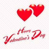 Tarjeta de felicitación feliz de día de San Valentín con el fondo rojo del corazón foto de archivo libre de regalías