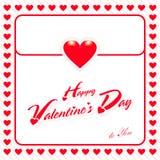 Tarjeta de felicitación feliz de día de San Valentín con el fondo rojo del corazón imagen de archivo libre de regalías