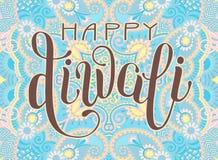 Tarjeta de felicitación feliz de Diwali con la inscripción escrita mano al indi