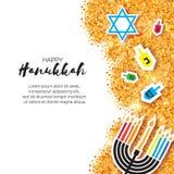 Tarjeta de felicitación feliz de Jánuca de la papiroflexia colorida en fondo del brillo del oro Imagen de archivo libre de regalías