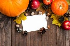 Tarjeta de felicitación feliz de la acción de gracias con las frutas y verduras estacionales Fotografía de archivo libre de regalías