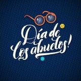 Tarjeta de felicitación feliz de la caligrafía del día de los abuelos en el azul hecho punto Imagenes de archivo